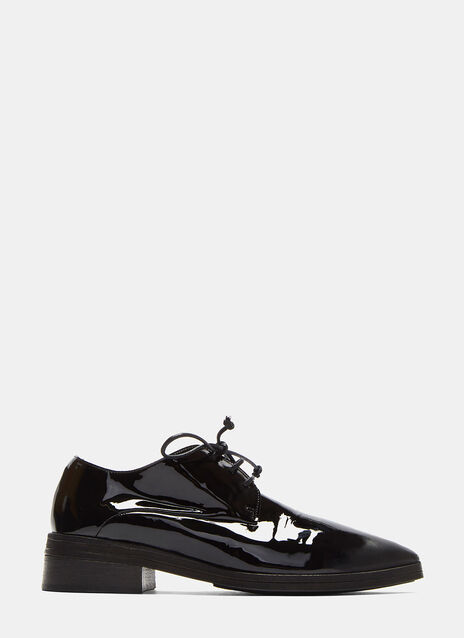 Lace-up Patent Leather Derby Shoes