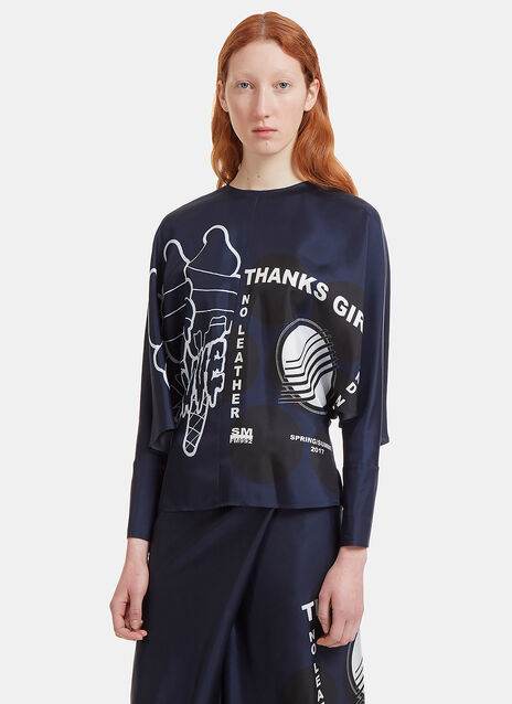 Oversized Thanks Girls Printed Top