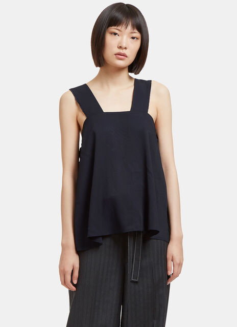 Raw Side Tie Twill Top