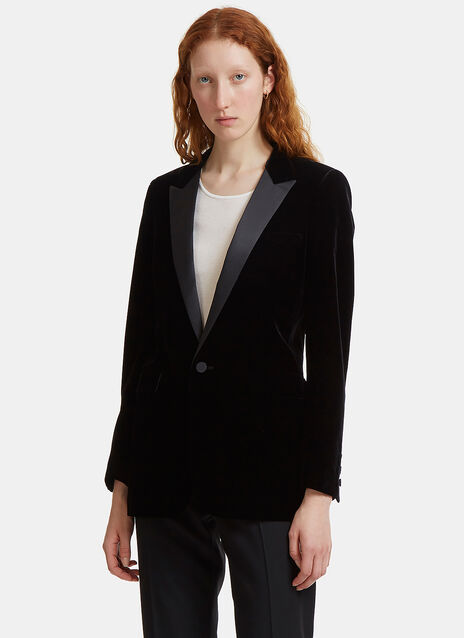 Velvet Single-Breasted Tuxedo Jacket
