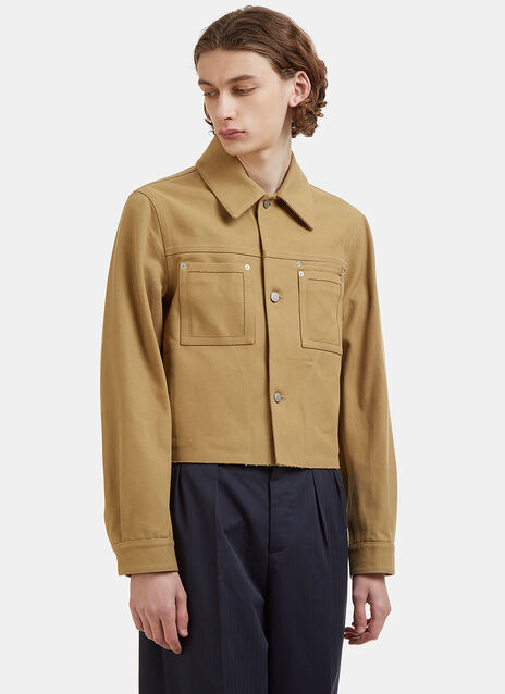 Cropped Twill Work Jacket