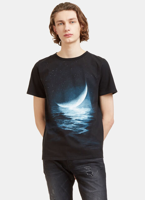 Moon Print Crew Neck T-Shirt