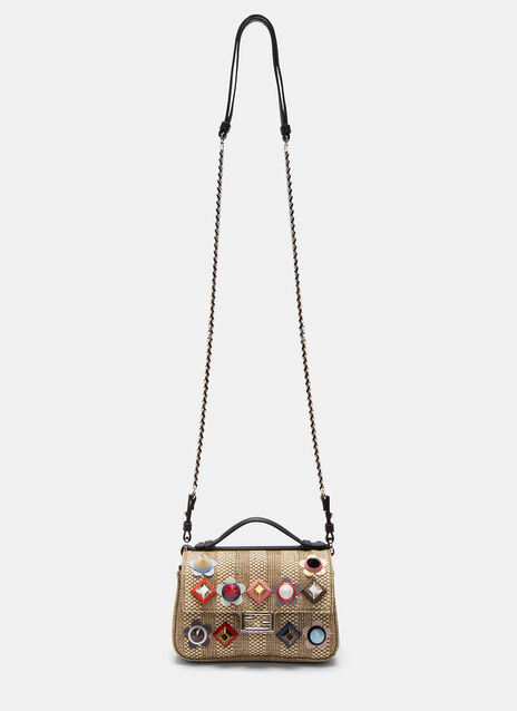 Micro Baguette Studded Double-Sided Straw Bag