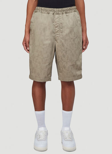 Comme Des Garcons Patterned Cargo Shorts in Green