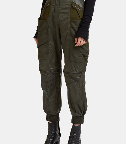 Faux Suede Panelled Technical Pants