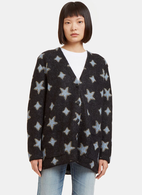 Metallic Star Intarsia Mohair Knit Cardigan