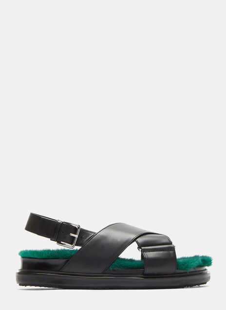 Contrast Fur Cross-Over Leather Sandals