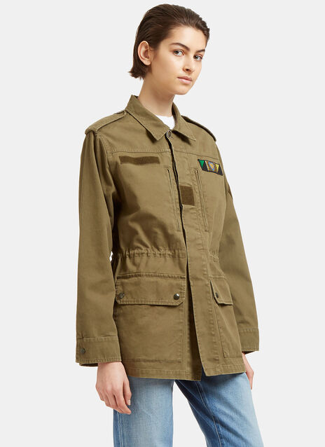 Glittered Love Embroidered Military Jacket