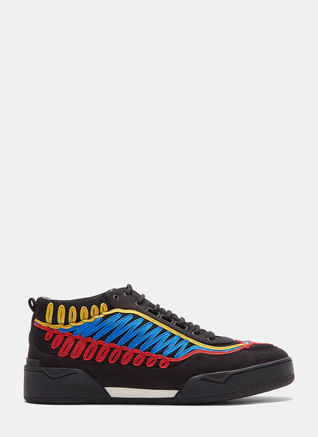 Embroidered Panelled Low-Top Sneakers