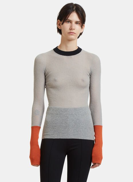 Fine Knit Contrast Cuff Sweater