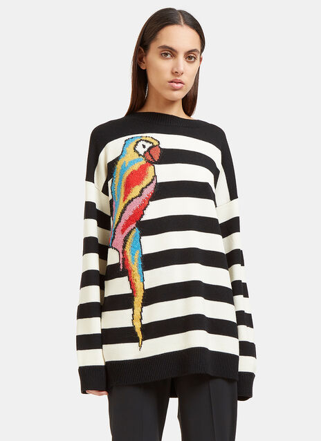 Striped Parrot Intarsia Knit Sweater