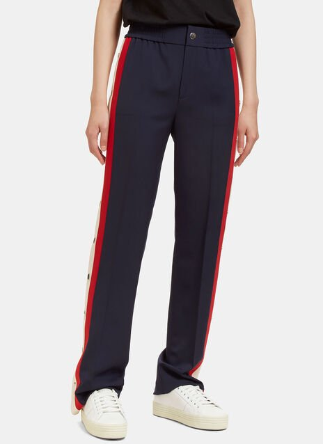 Striped Wool Silk Jogging Pant