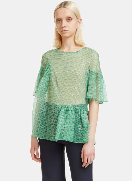 Sheer Metallic Star Print Frilled Top