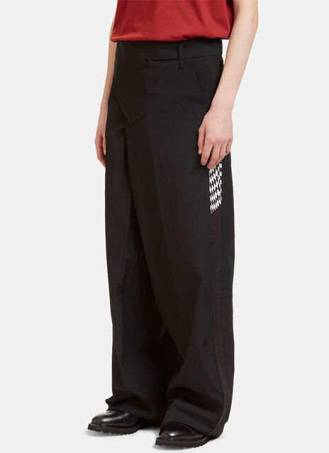 Wide Leg Contrast Seam Pants
