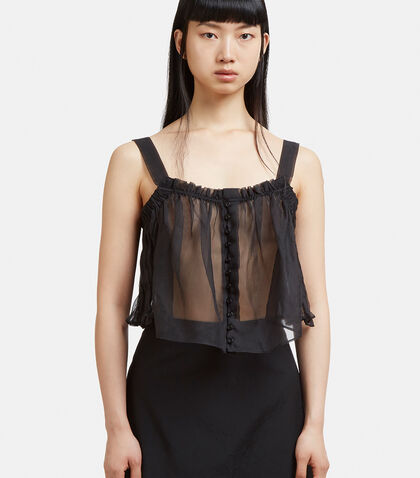 RENLI SU Buttoned Rushed Top in Black