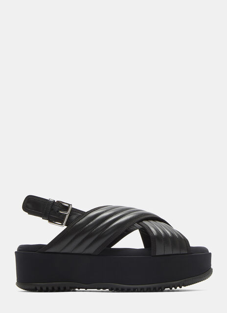 Ribbed Leather Platform Sandals