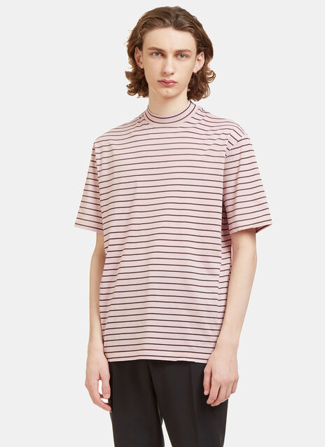 Striped Mock Neck T-Shirt