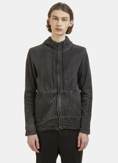 Perforated Leather Hooded Jacket