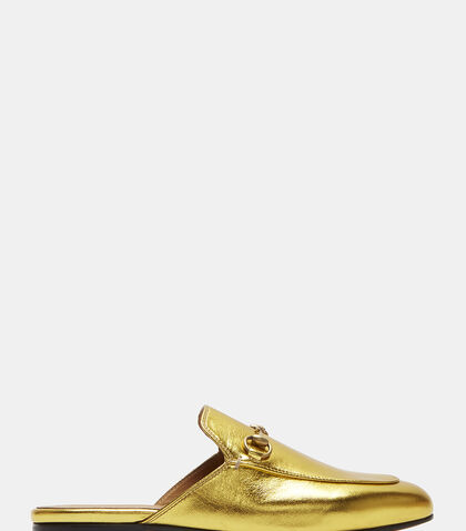 Princetown Metallic Leather Slipper Shoes