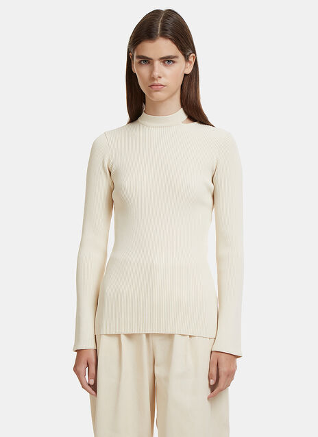Collar Ribbed Knit Sweater