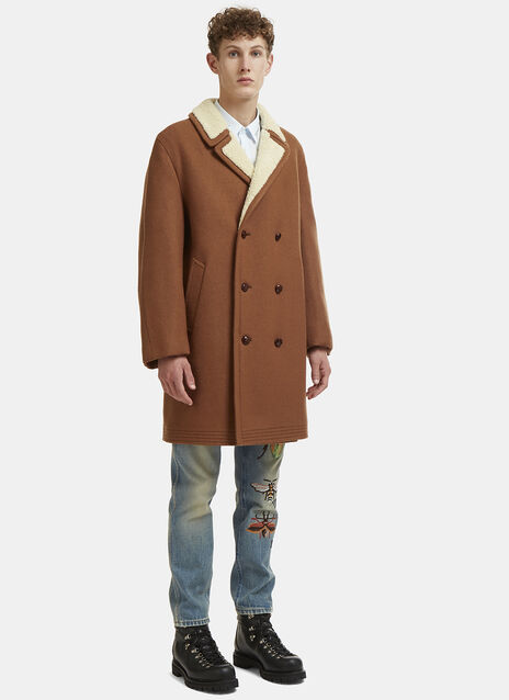 Mohair Wool Embroidered  Shearling Coat