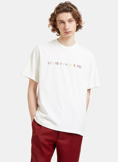 Sunnei Embroidered Crew Neck T-Shirt