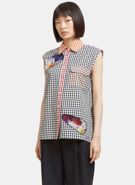 Pansy Mesh Patch Gingham Sleeveless Shirt