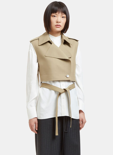 Raw Twill Cropped Jacket in Khaki