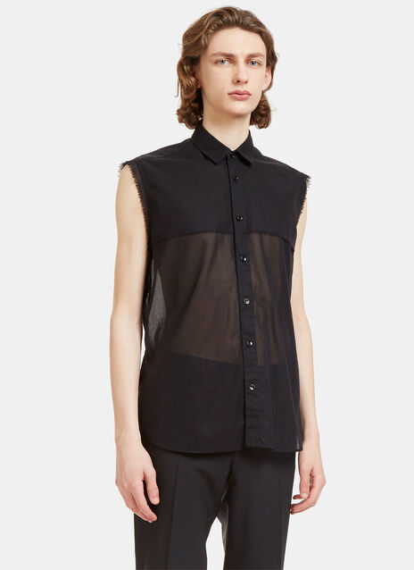 Raw-Edged Sheer Sleeveless Shirt