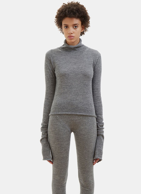 Jiao Elongated Flared Sleeve Alpaca Knit Sweater