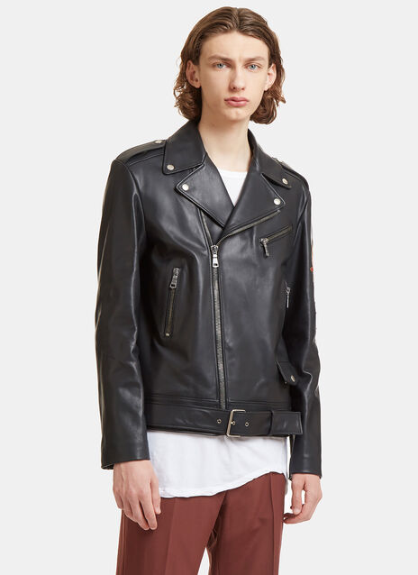 Blind for Love Embroidered Patch Leather Biker Jacket