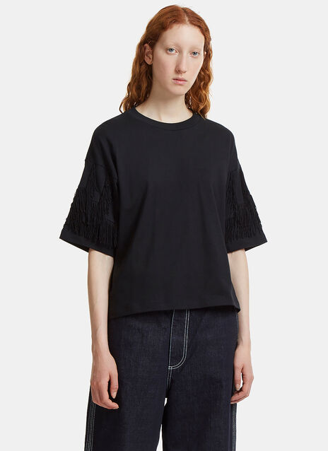 Oversized Fringed Sleeve T-Shirt