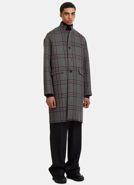 Oversized Checked Wool Tweed Coat