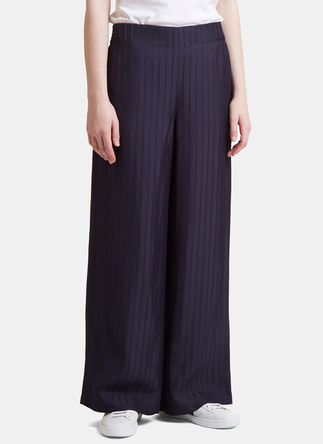 Tennessee Striped Twill Wide-leg Trousers