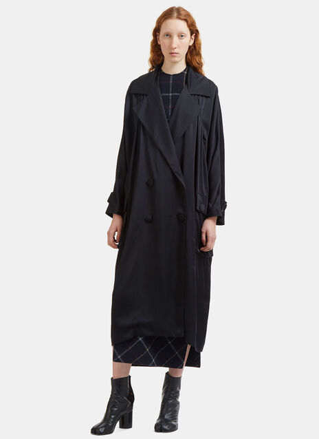 Long Oversized Patch Pocket Satin Coat