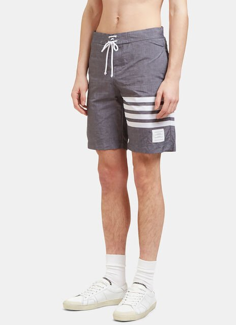 Long Striped Swim Shorts