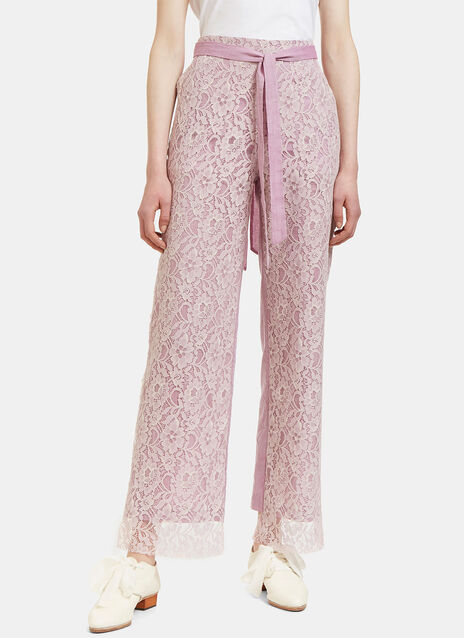 Lace Layered Straight Leg Pants