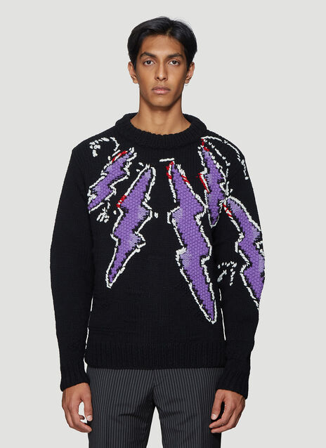 프라다 Prada Lightning-Bolt Knit Sweater in Black