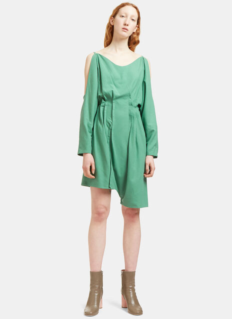 Noil Draped Off-the-Shoulder Playsuit