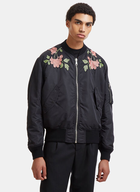 Reversible Flower Embroidered Bomber Jacket