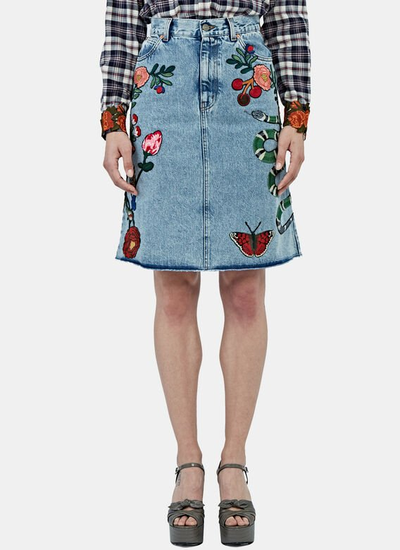 Gucci Midi Denim Embroidered Skirt