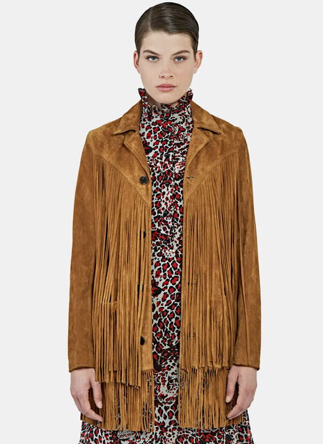 Long Fringed Suede Leather Jacket