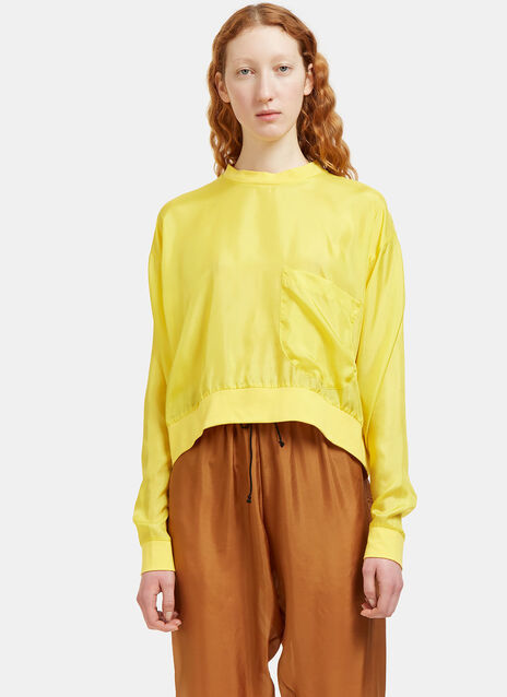Oversized Cropped Silk Top