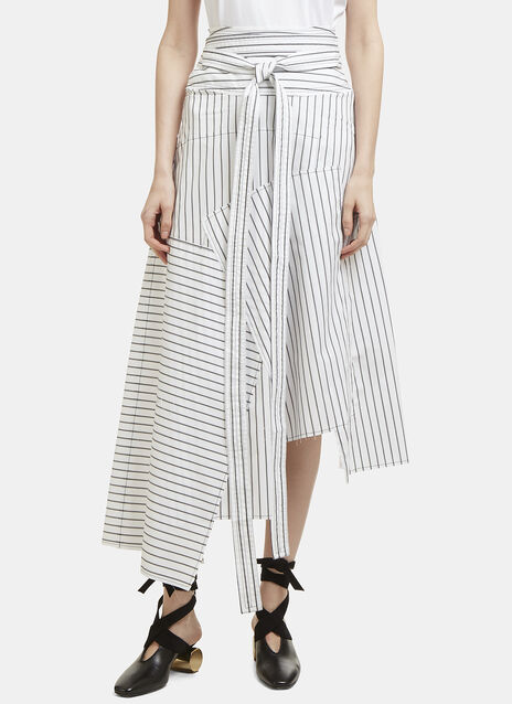 JW Anderson Striped Asymmetric Patchwork Skirt