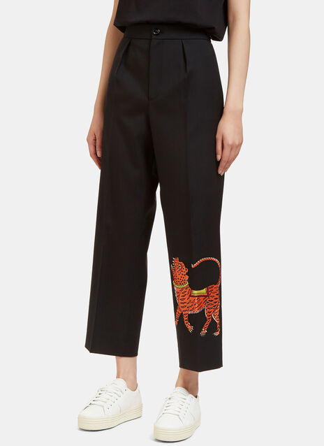 Tiger Embroidered Wide Leg Cropped Pants