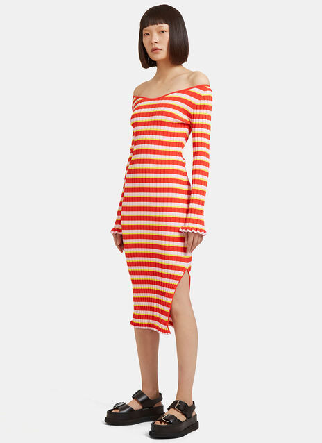 Socorro Striped Ribbed Dress
