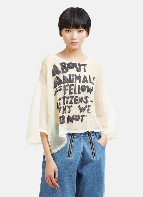 Anntian Animal Sheer Frill Top