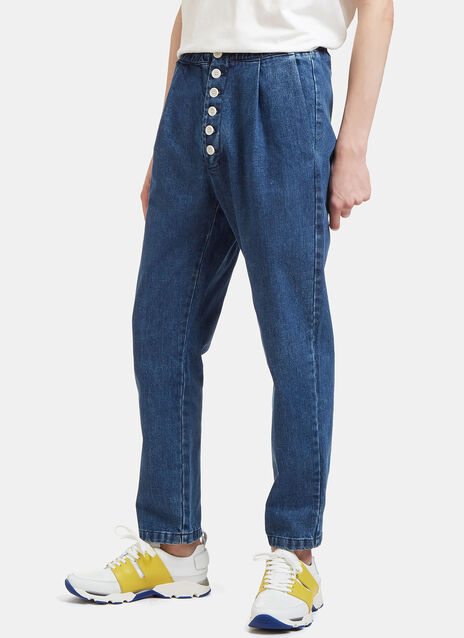 Buttoned Cropped Jeans