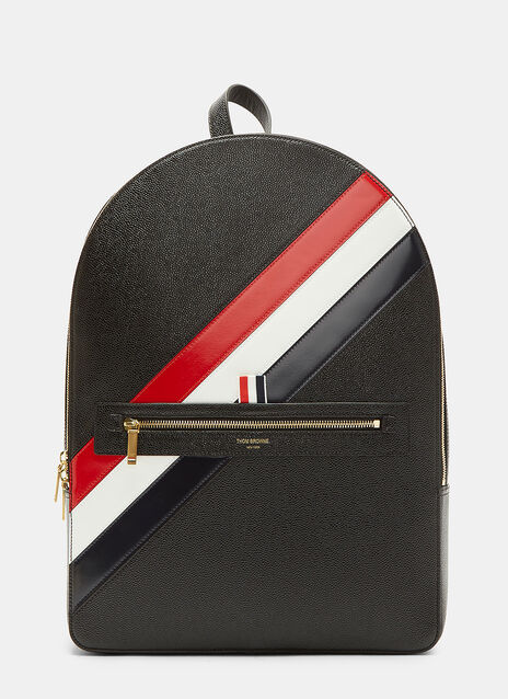 Diagonal Striped Pebble Grained Backpack