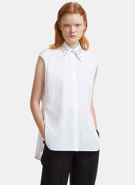 Eyelet Collared Sleeveless Shirt